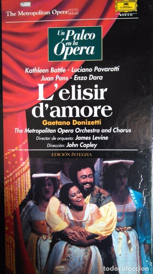 DONIZETTI. L'ELISIR D'AMORE. BATTLE. PAVAROTTI. PONS. DARA. LEVINE. COPLEY. VHS (Música - Videos y DVD Musicales)