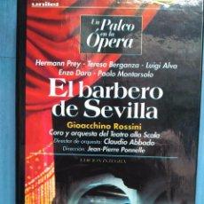 Vídeos y DVD Musicales: ROSSINI. EL BARBERO DE SEVILLA. PREY. BERGANZA. ALVA. DARA. MONTARSOLO. ABBADO. PONNELLE. VHS. Lote 97857703