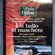 Vídeos y DVD Musicales: VERDI. UN BALLO IN MASCHERA. PAVAROTTI. NUCCI. MILLO. QUIVAR. LEVINE. FAGGIONI. VHS. Lote 97859919