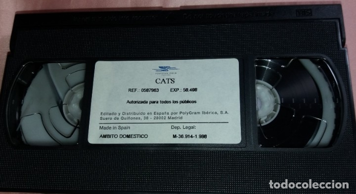 Vídeos y DVD Musicales: cats - video vhs (el musical mas famoso del mundo) voir photos - Foto 3 - 175293519