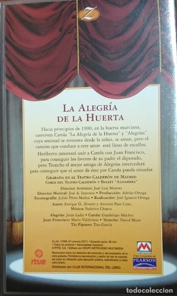Vídeos y DVD Musicales: LA ALEGRÍA DE LA HUERTA - VHS - ZARZUELA - Foto 2 - 176608667