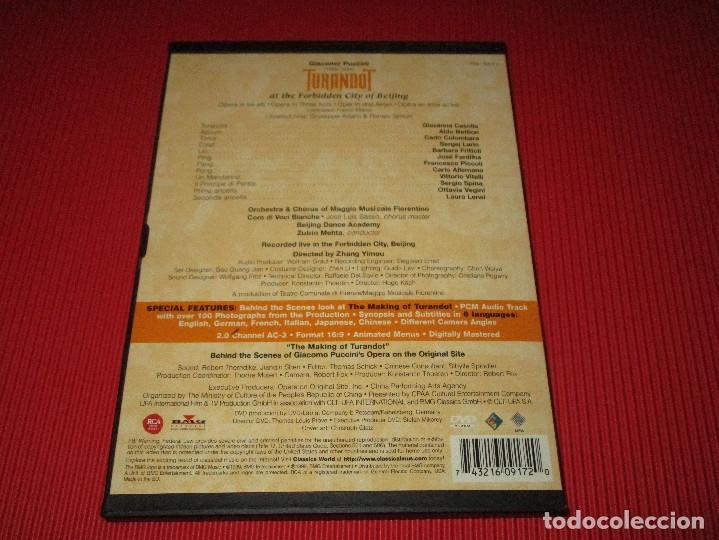 Vídeos y DVD Musicales: TURANDOT AT THE FORBIDDEN CITY OF BEIJING - DVD - CARTONE - 74321 60917 2 - RCA - GIACOMO PUCCINI - Foto 3 - 178689765