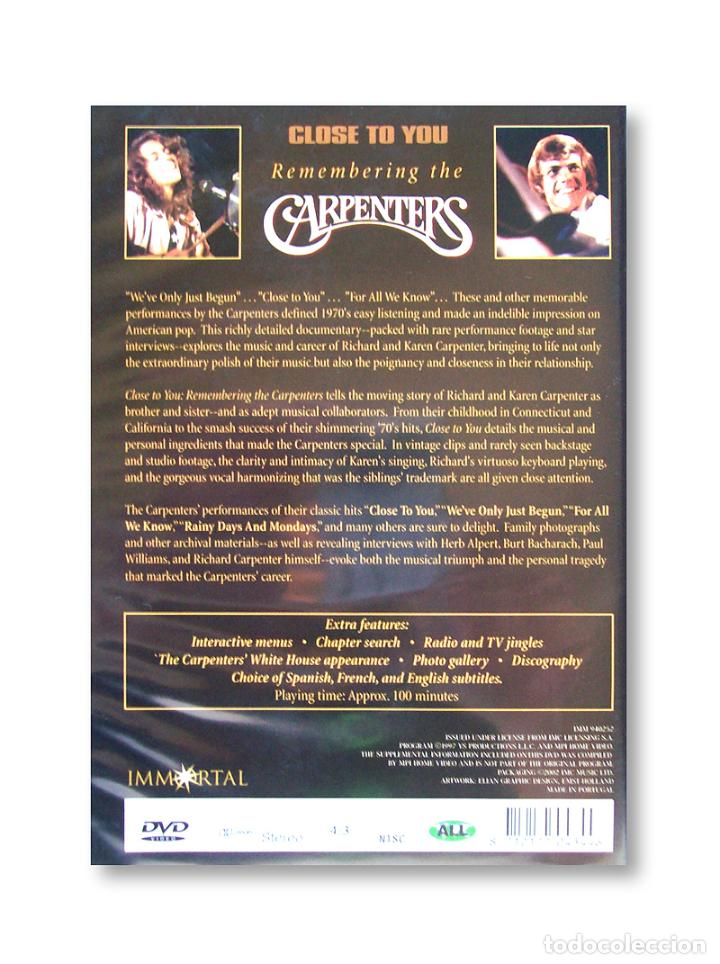 Vídeos y DVD Musicales: DVD CLOSE TO YOU - REMEMBERING THE CARPENTERS - Foto 2 - 219832068