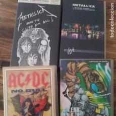 Vídeos y DVD Musicales: LOTE 4 VHS VIDEO CINTA METALLICA AC / DC HEAVY ROCK METAL VINTAGE RETRO DIRECTO MADRID. Lote 224632673
