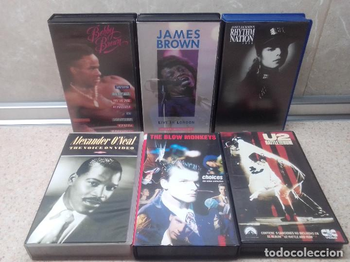 LOTE 6 VIDEOS VHS, U2, THE BLOW MONKEIS, ALEXANDER O'NEAL, JAMES BROWN, JANET JACKSON'S,BOBBY BROWN. (Música - Videos y DVD Musicales)