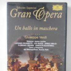 Vídeos y DVD Musicales: UN BALLO IN MASCHERA. DVD DE LA OPERA DE GIUSEPPE VERDI. LUCIANO PAVAROTTI. DEUTSCHE GRAMMOPHON.. Lote 262748705