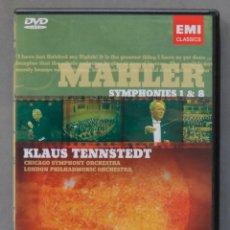 Vídeos y DVD Musicales: DVD. MAHLER. SYMPHONIES 1 & 8. TENNSTEDT. Lote 285316898