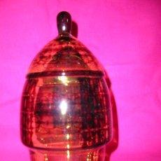 Vintage: BOMBONERA EN CRISTAL COLOR CARAMELO . Lote 26644115