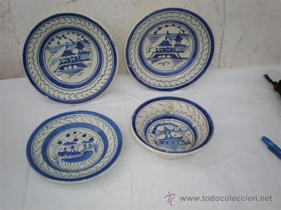 4 PLATOS DE CERAMICA (Vintage - Decoración - Porcelanas y Cerámicas)