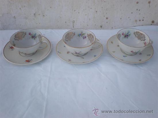 3 TAZAS DE PORCELANA Y PLATOS (Vintage - Decoración - Porcelanas y Cerámicas)