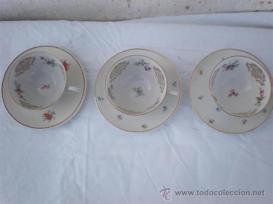 Vintage: 3 tazas de porcelana y platos - Foto 2 - 18563511