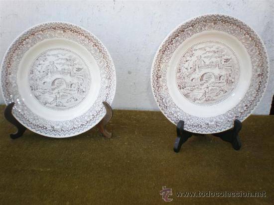 PAREJA DE PLATOS DE SEGOVIA UN PUENTE (Vintage - Decoración - Porcelanas y Cerámicas)