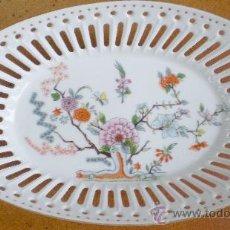 Vintage: BANDEJA PORCELANA CALADA CON FLORES, VINTAGE. Lote 20763719