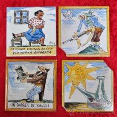 Vintage: LOTE DE 4 AZULEJOS ANTIGUOS DEL ARTISTA JOAN ROCA MARISTANY. AÑOS 60S.. Lote 24994481