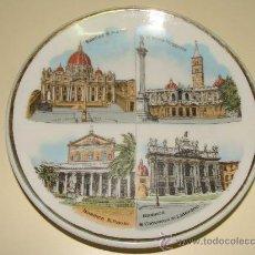 Vintage: PLATO DE CERÁMICA. BASÍLICAS MAYORES DE ROMA, ITALIA. SANTA MARÍA / SAN PABLO / SAN PEDRO / . . Lote 97063160