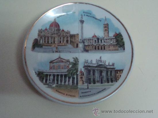 Vintage: PLATO DE CERÁMICA. BASÍLICAS MAYORES DE ROMA, ITALIA. SANTA MARÍA / SAN PABLO / SAN PEDRO / . - Foto 2 - 97063160