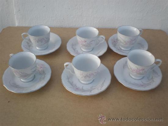 6 TAZAS DE PORCELANA Y 6 PLATOS (Vintage - Decoración - Porcelanas y Cerámicas)
