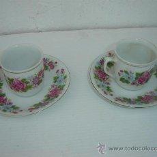 Vintage: 2 TAZAS Y PLATOS DE PORCELANA. Lote 23590912