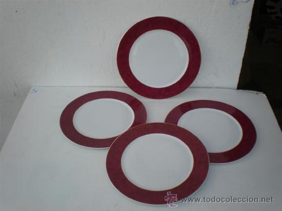4 PLATOS DE PORCELANA RANDE LIMOGES (Vintage - Decoración - Porcelanas y Cerámicas)