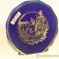 Vintage: PLATO RETRATO DE CERÁMICA. BURGOS. SANTA MARÍA DE LA VID. VIRGEN Y MONASTERIO. EN ORO DE LEY. . Lote 24754542