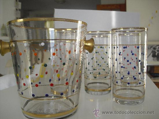 Original Cubitera Y Juego De 6 Vasos Decorados De Los Años 60