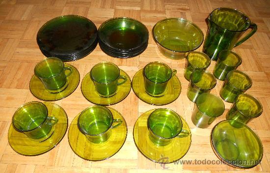 Vajilla retro de cristal verde a os 70 comprar cristal for Vajilla retro