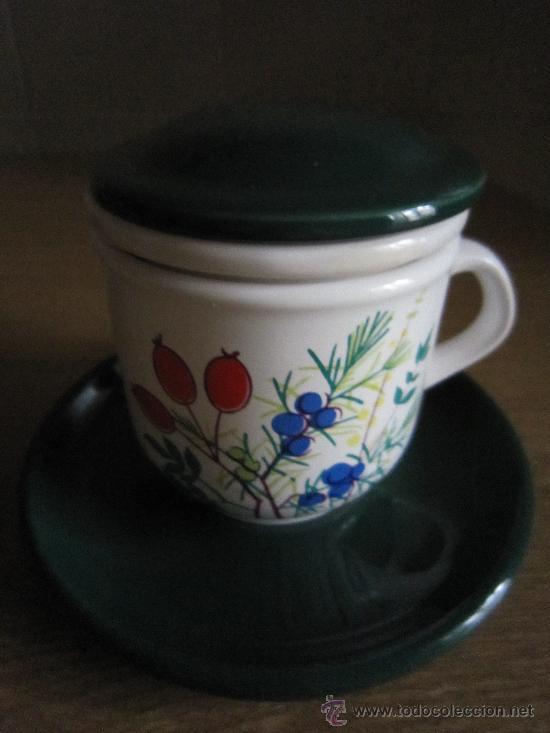 TAZÓN PARA INFUSIONES. 4 PIEZAS. PRECIOSO. (Vintage - Decoración - Porcelanas y Cerámicas)