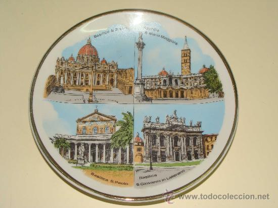 PLATO DE CERÁMICA. BASÍLICAS MAYORES DE ROMA, ITALIA. SANTA MARÍA / SAN PABLO / SAN PEDRO / . (Vintage - Decoración - Porcelanas y Cerámicas)
