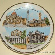 Vintage: PLATO DE CERÁMICA. BASÍLICAS MAYORES DE ROMA, ITALIA. SANTA MARÍA / SAN PABLO / SAN PEDRO / . . Lote 26397957