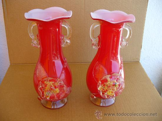 jarrones de cristal de murano rojo interior blanco vintage decoracin jarrones