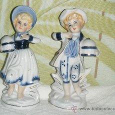 Vintage: FIGURAS PAREJA DE NIÑOS ANTIGUOS CON JAULAS AÑOS 70.. Lote 27744011