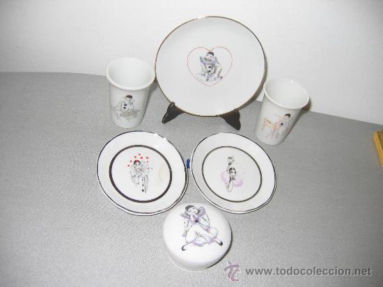 COLECCIÓN MINIATURA TIPO PORCELANA CON ESTAMPACIÓN ARLEQUINES. (Vintage - Decoración - Porcelanas y Cerámicas)