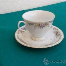 Vintage: TAZA Y PLATO DE PORCELANA. Lote 28422524