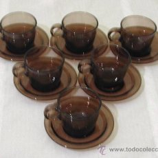Vintage: LOTE 6 TAZAS PARA CAFÉ + 6 PLATOS - DURALEX / VERECO - AÑOS 60.. Lote 28567778