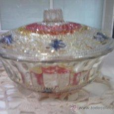 Vintage: BOMBONERA DE CRISTAL DE COLORES. Lote 30155130