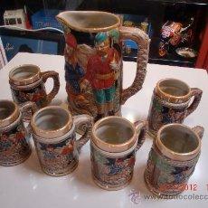 Vintage: CERVEZA JUEGO CERAMICA ESMALTADA JARRA GRANDE 6 PEQUEÑAS.AÑOS 70. Lote 30244890
