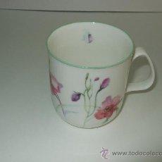 Vintage: TAZA PORCELANA INGLESA - ROSE OF ENGLAND - DECORADA CON FLORES - 8.5 ALTURA - 8 CM BOCA. Lote 30254292