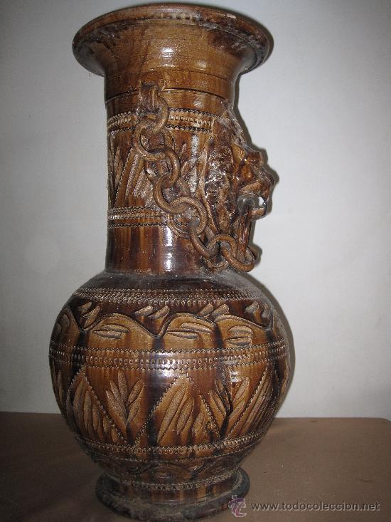 VINTAGE - GRAN JARRON DE CERAMICA -PARAGUERO O FLORERO- (Vintage - Decoración - Jarrones y Floreros)
