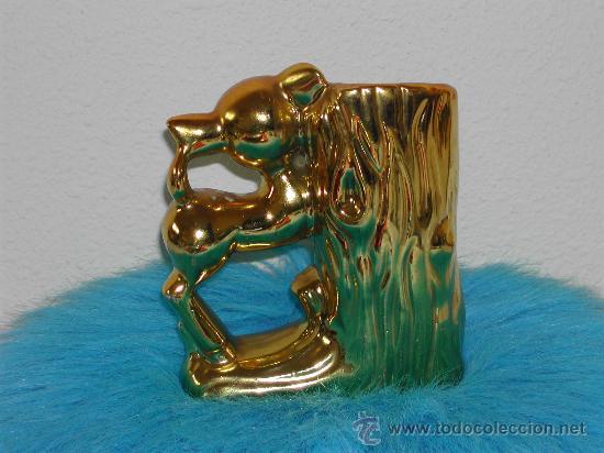 Vintage: VINTAGE / RETRO - Jarron de cerámica dorada - BAMBI - Años 60. - Foto 2 - 30528225