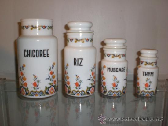 CONJUNTO DE TARROS TARRO BOTES BOTE COCINA EN OPALINA. FABRICADOS EN ITALIA. ORIGINAL VINTAGE. (Vintage - Decoración - Porcelanas y Cerámicas)