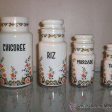 Vintage: CONJUNTO DE TARROS TARRO BOTES BOTE COCINA EN OPALINA. FABRICADOS EN ITALIA. ORIGINAL VINTAGE.. Lote 30524201