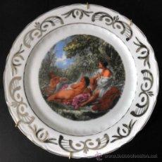 Vintage: PLATO DE PORCELANA VINTAGE CON ESCENA ROMANTICA RIBETE DE PLATA. Lote 30855832