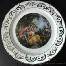 Vintage: PLATO DE PORCELANA VINTAGE CON ESCENA ROMANTICA RIBETE DE PLATA. Lote 30855838