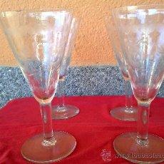 Vintage: ANTIGUAS 4 COPAS DE CAVA, TALLADAS. Lote 31347358