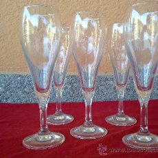 Vintage: ANTIGUAS 5 COPAS DE CHAMPAGNE. BONITO TALLADO EN RELIEVE DE HOJAS.. Lote 31457771