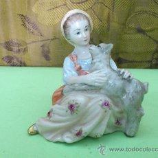 Vintage: EXTRAORDINARIA FIGURA DE PORCELANA. MARCAS BASE. Lote 31666192