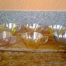 Vintage: ANTIGUO JUEGO DE CAFE DE CRISTAL EN COLORES CON EFECTO ANACARADO.. Lote 31836951