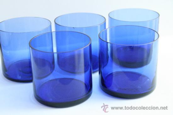Lote 5 vaso de cristal color azul vintage a os comprar for Vasos cristal colores