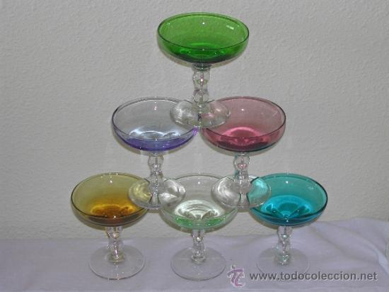 retro vintage lote copas cristal colores para cava champagne maria antonieta