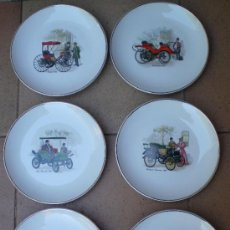 Vintage - Colección lote 6 platos porcelana San Claudio coches de época - 33804117